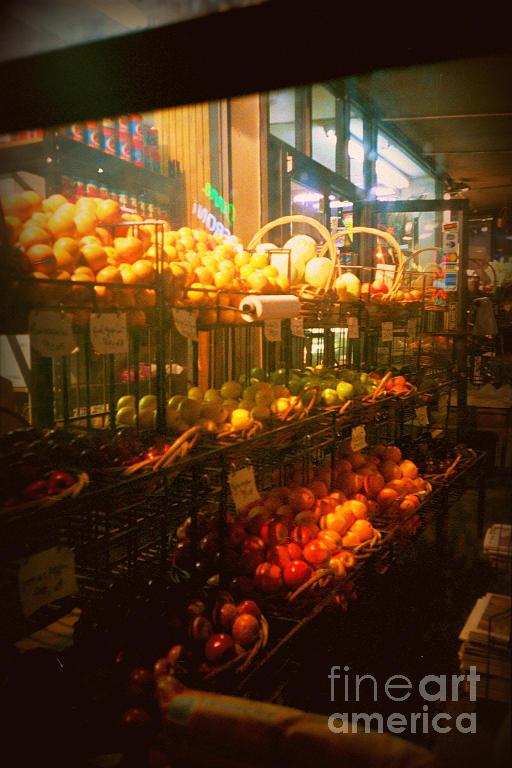 Fruitstand Photograph - Night Market by Miriam Danar