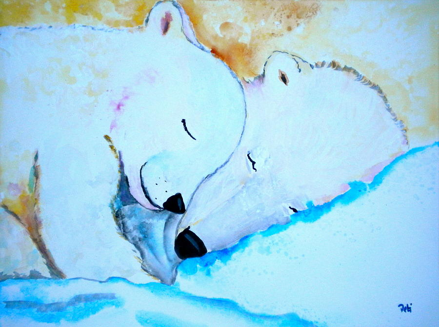 Polar Bears Painting - Night Night by Debi Starr
