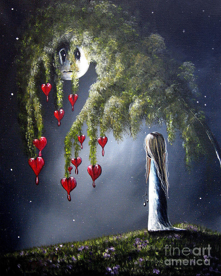 Outsider Painting - Night Of The Bleeding Hearts By Shawna Erback by Erback Art
