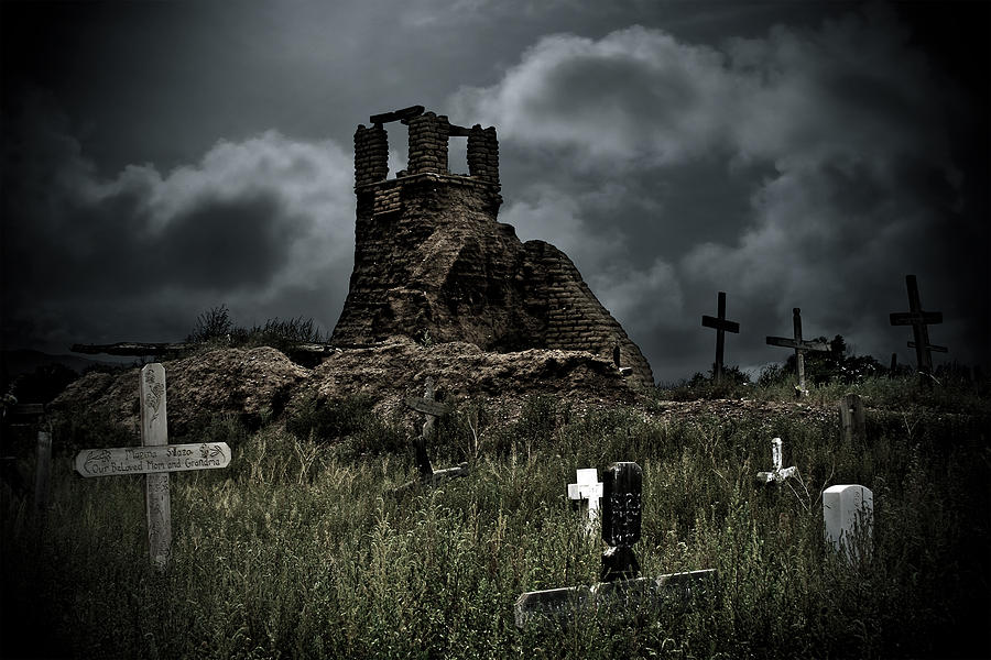 Cemetery Photograph - Night Over Taos Pueblo New Mexico by Christine Till