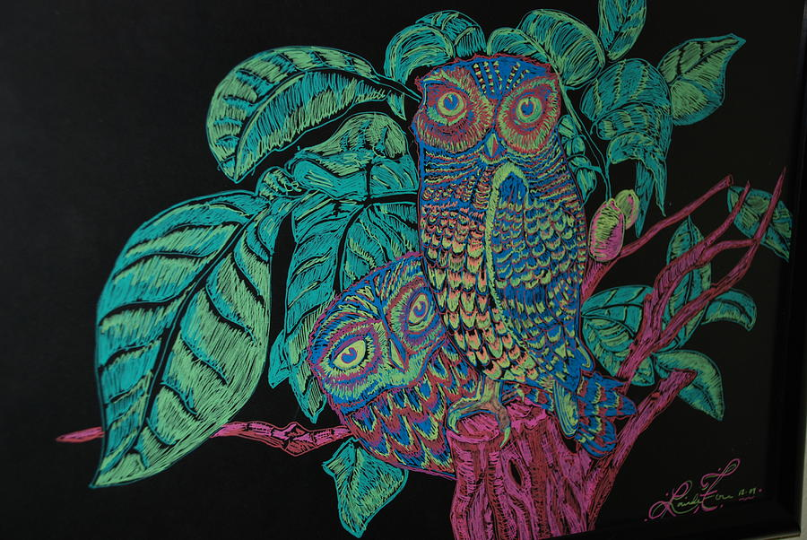 Owls Drawing - Night Owls by Lorinda Fore