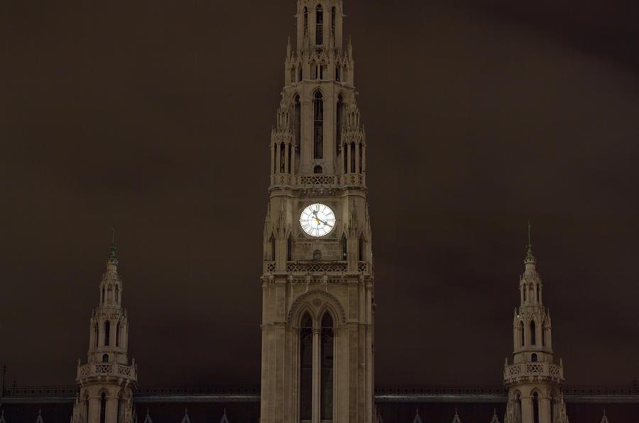 Vienna Photograph - Night Rathaus by Viacheslav Savitskiy