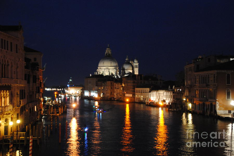 Grand Canal Photograph - Night Reflections On Grand Canal by Jacqueline M Lewis