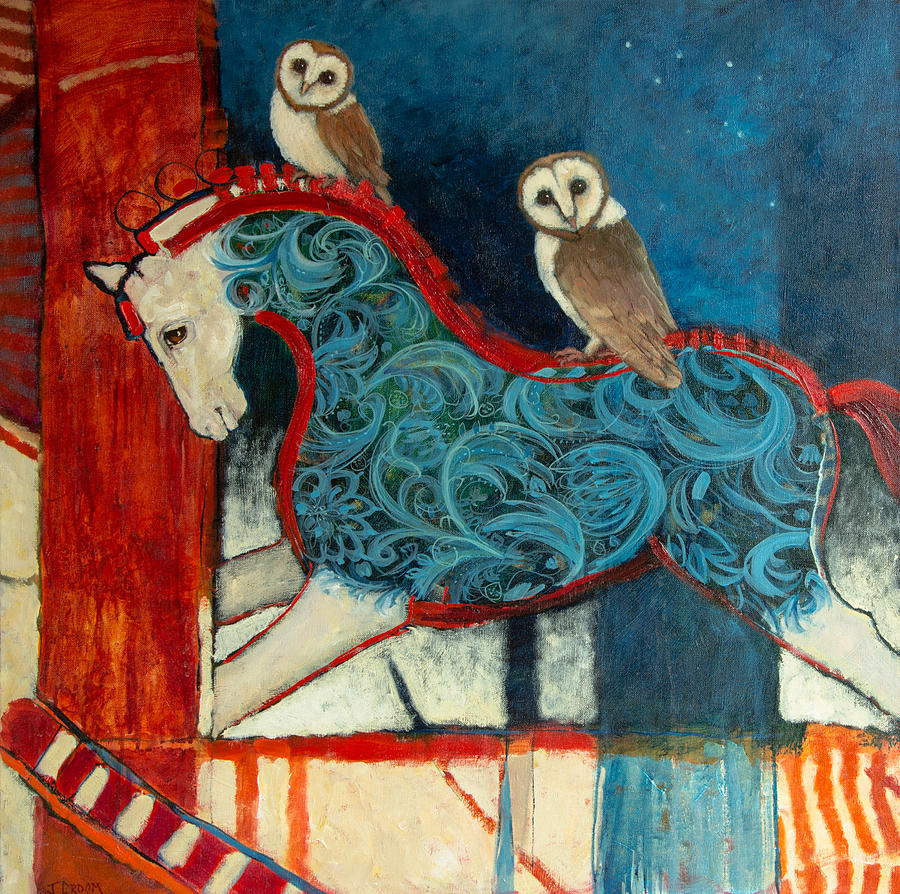 Rocking Horse Painting - Night Riders by Jennifer Croom