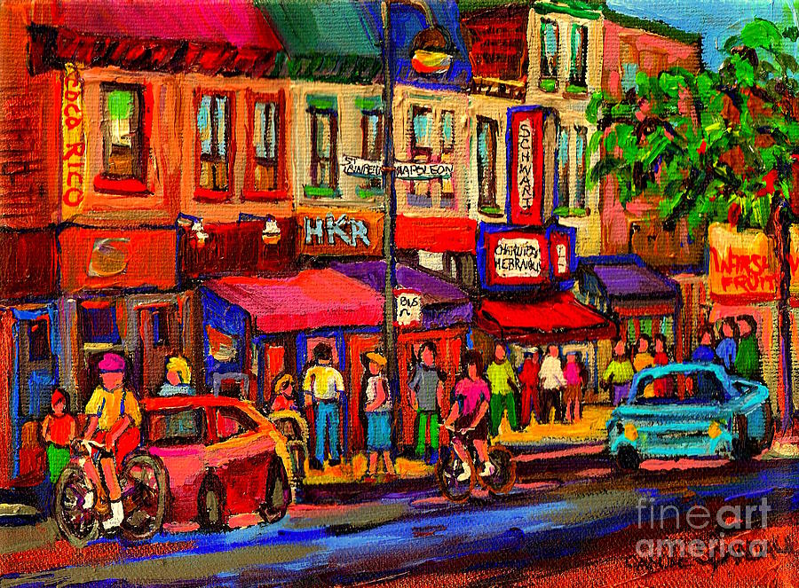 Montreal Painting - Night Riders On The Boulevard Rue St Laurent And Napoleon Deli Schwartz Montreal Midnight City Scene by Carole Spandau