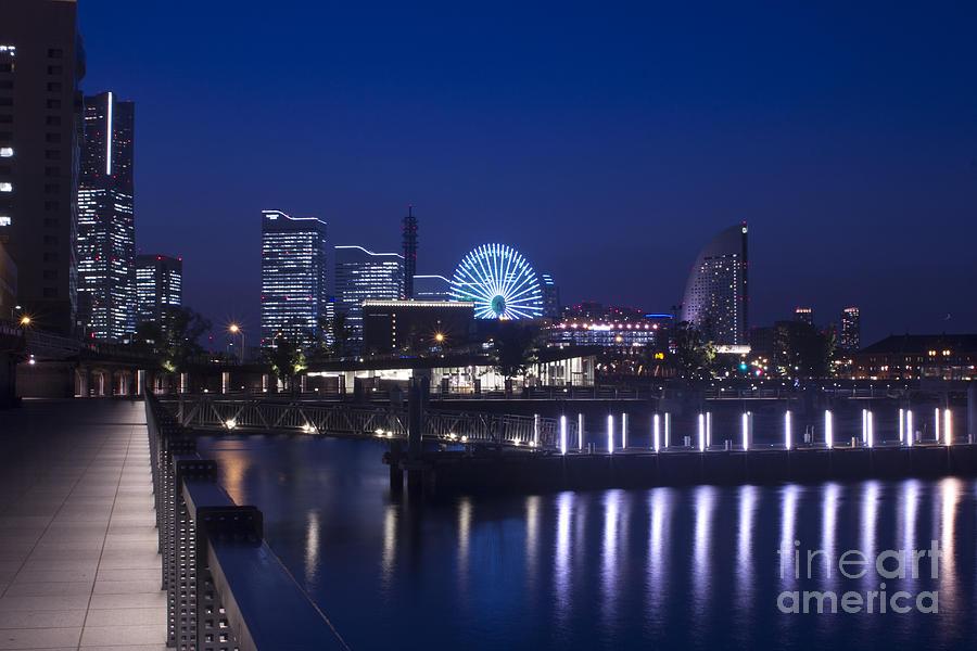 Japan Photograph - Night Scene In Blue Of Minatomirai In Yokohama by Beverly Claire Kaiya