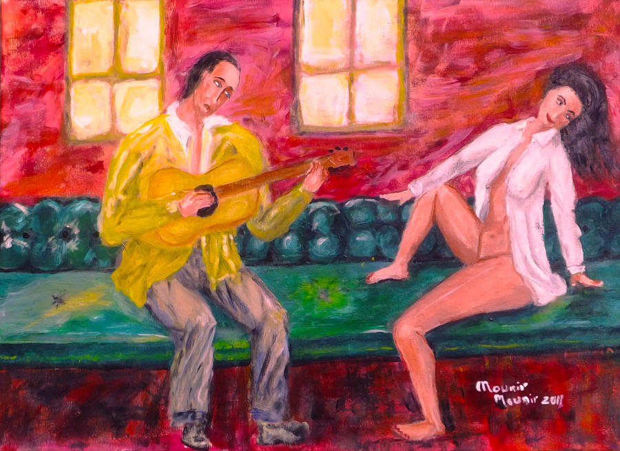 Lovers Painting - Night Serenade by Mounir Mounir