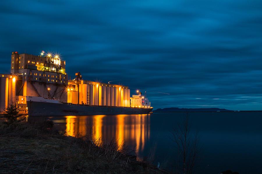 Lake Superior Photograph - Night Ship by Linda Ryma