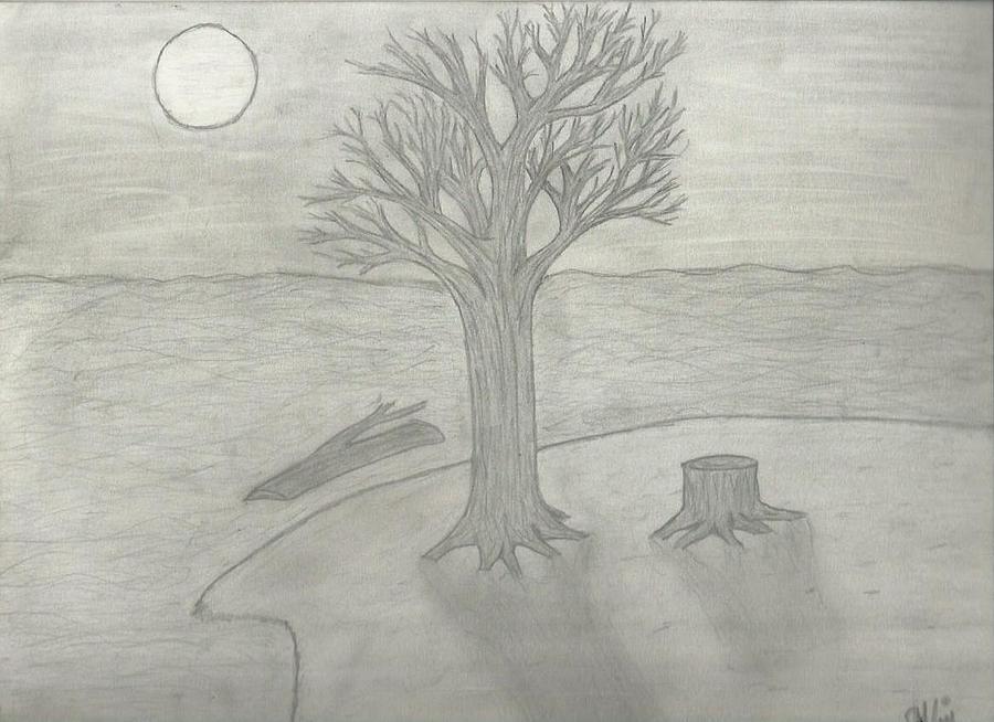 Night Scene Drawing - Night Sketch by Saleem Baig