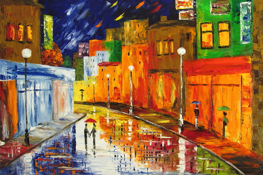 Walking In The Rain Painting - Night Stroll by Mariana Stauffer