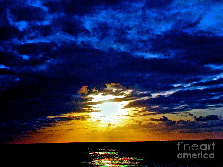 Seascape Photograph - Night Surrounds The Sun by Qs House of Art ArtandFinePhotography