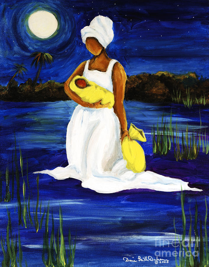 Gullah Painting - Night Tide by Diane Britton Dunham