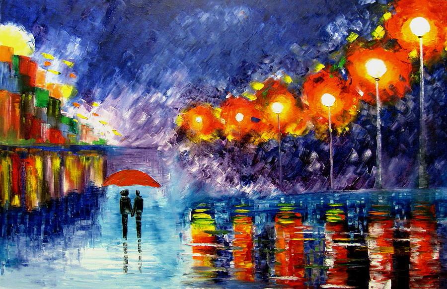 Walking In The Rain Painting - Night Time Walk by Mariana Stauffer
