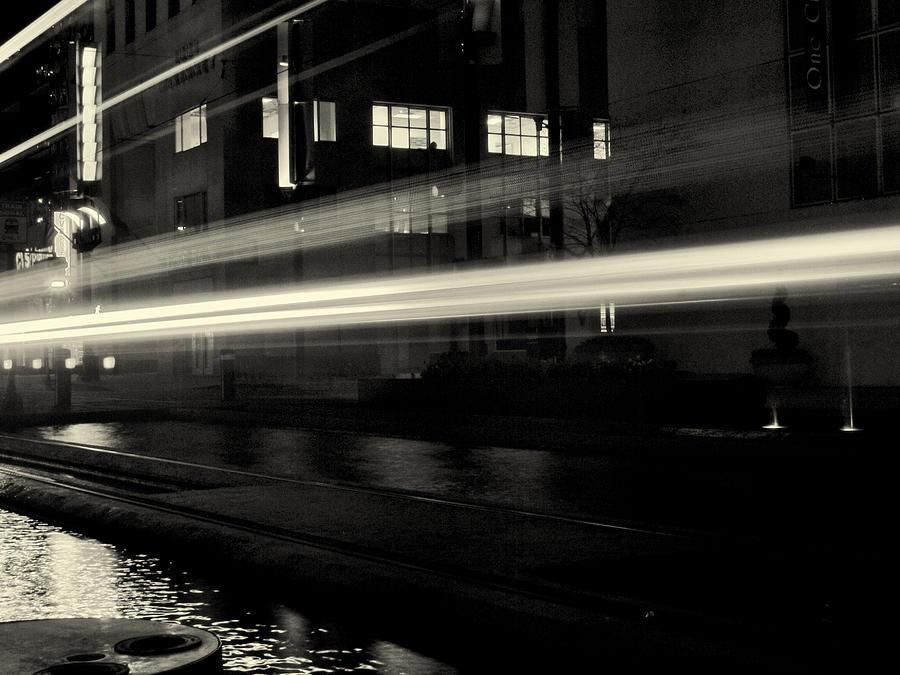 Houston Photograph - Night Train Black And White by Joshua House