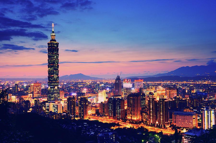 Night View Of City And Taipei 101 Photograph by Joyoyo Chen