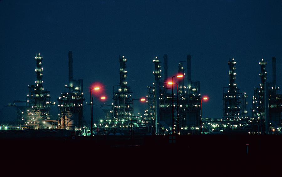 Chemical Works Photograph - Night View Of Ici Chemical Works by Martin Bond/science Photo Library