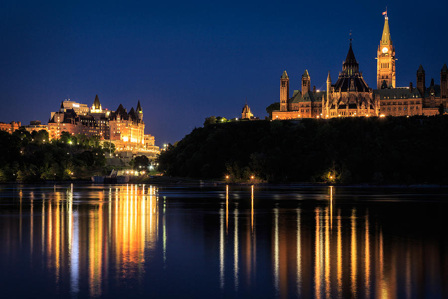 Night View Of Parliament Hill From The Ottawa River