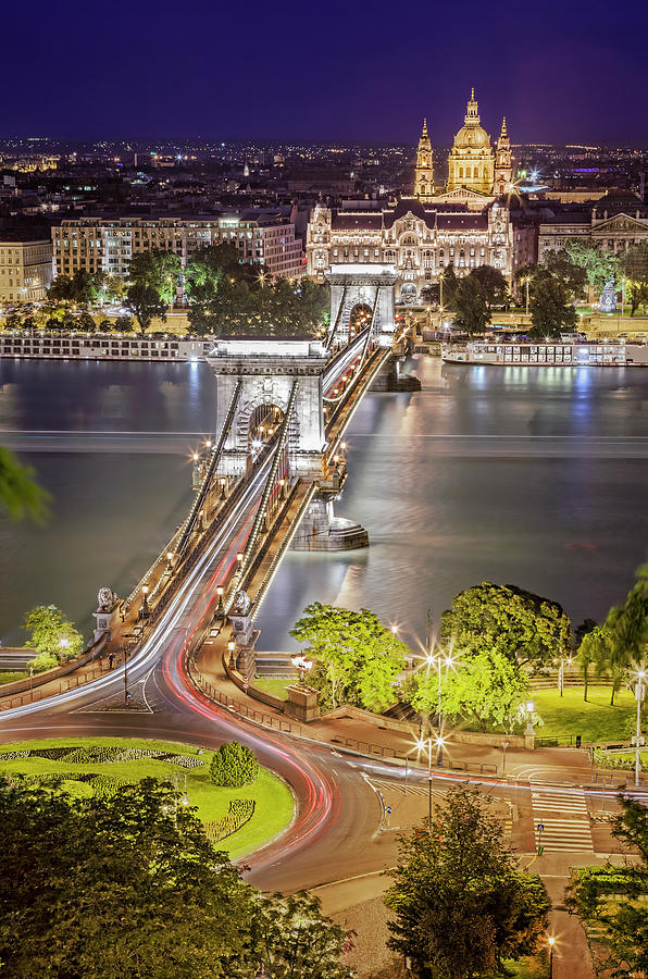 Night View Of Pest From Buda Hill Photograph by All Rights Reserved - Copyright