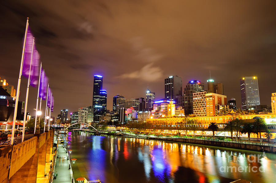 Night Photograph - Night View Of The Yarra River And Skyscrapers - Melbourne - Australia by David Hill