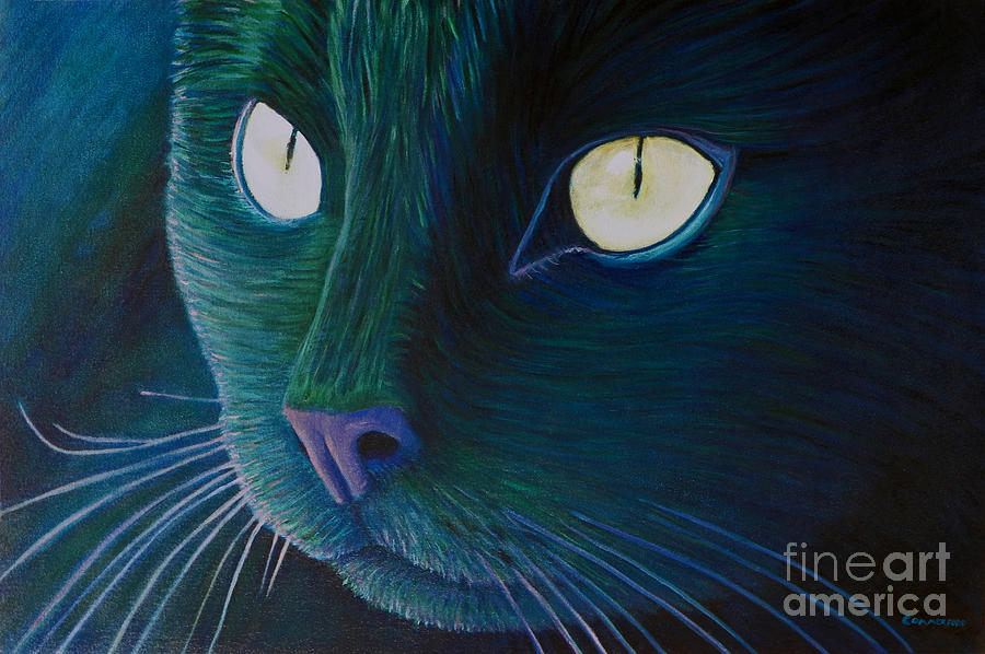 Cat Painting - Night Vision by Brian  Commerford