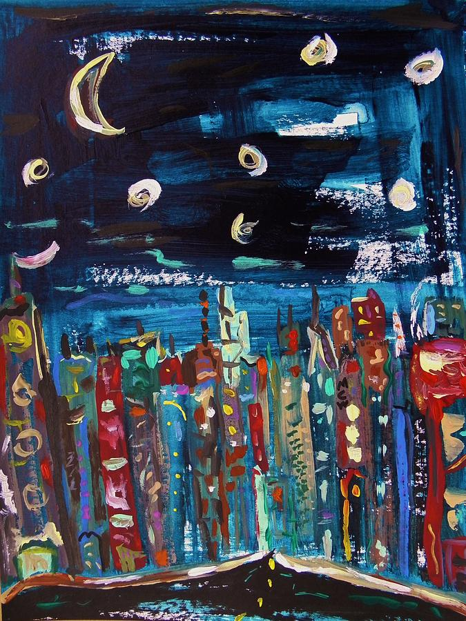 Moon Painting - Night Vision by Mary Carol Williams