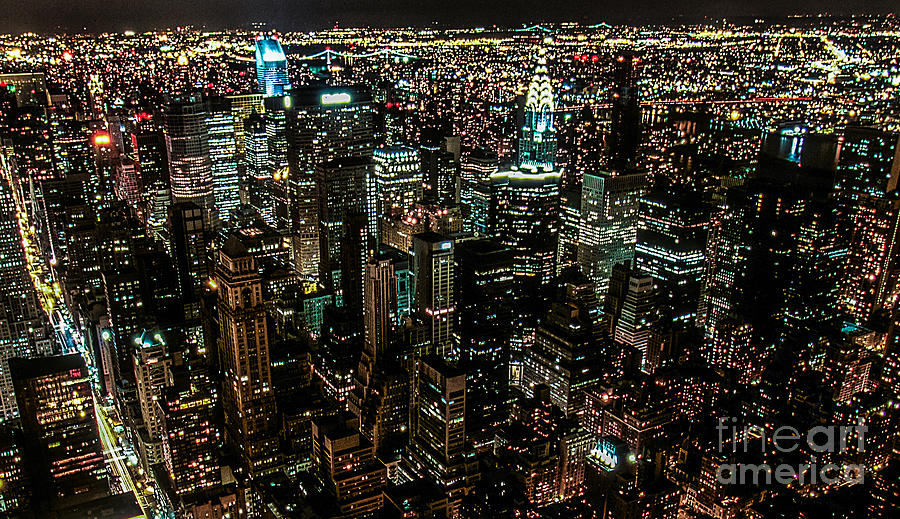 Night Photograph - Night View From Empire State Building by Kim Lessel