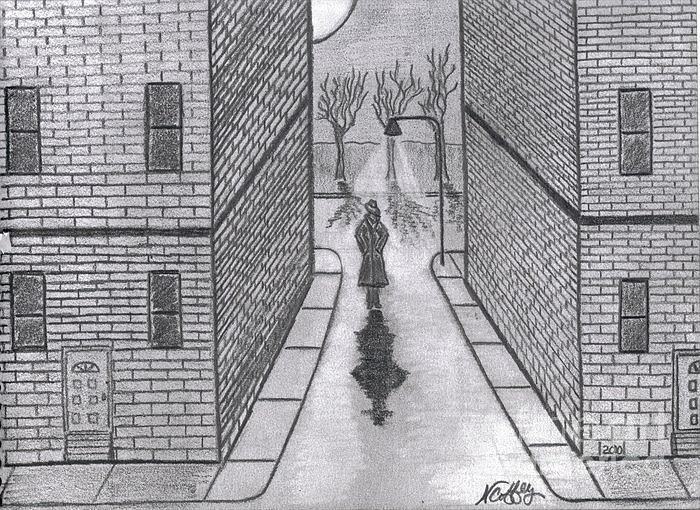 Lighting Drawing - Night Walker by Neil Stuart Coffey