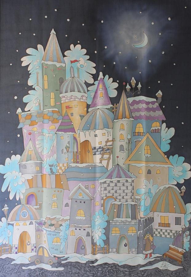 Car Tapestry - Textile - Night Winter City by VV Art Batik