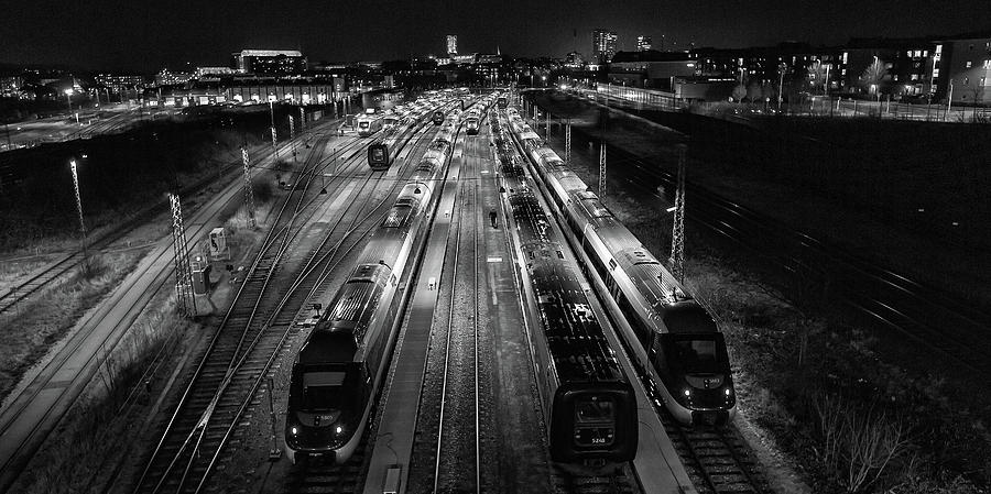 Train Photograph - Night Work. by Leif L?ndal