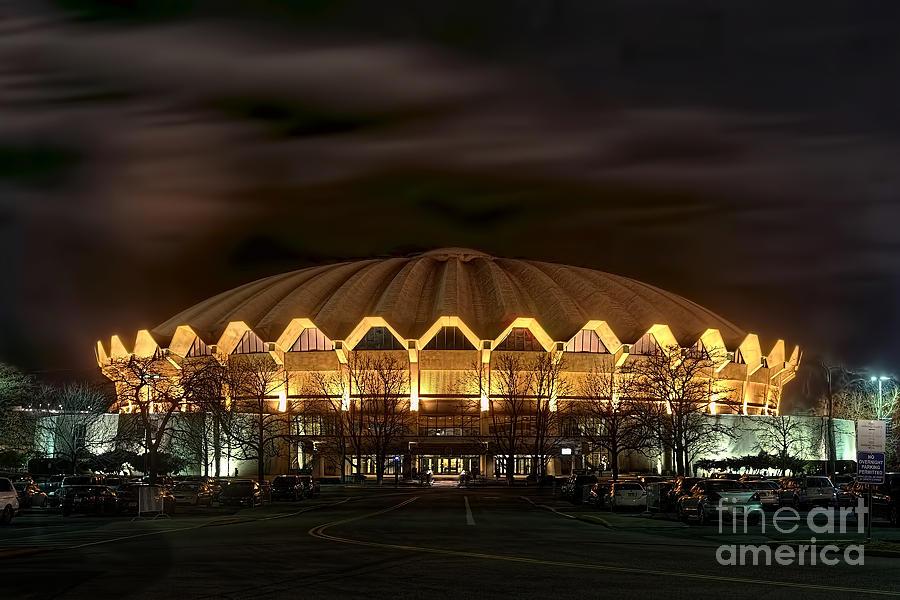 Wvu Photograph - night WVU basketball Coliseum arena in by Dan Friend