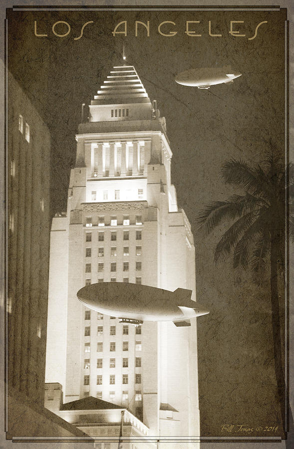 Vintage Photograph - Night Zeppelins Over L A by Bill Jonas