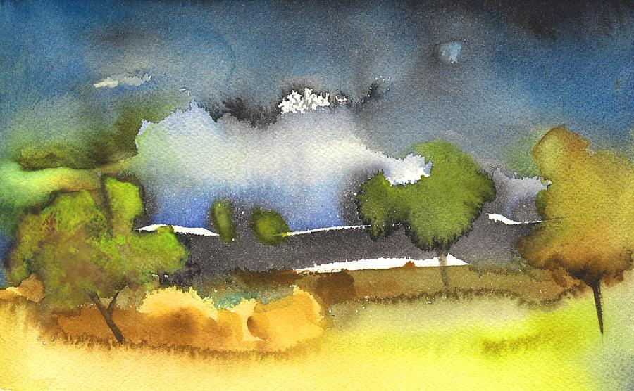 Gouache Painting - Nightfall 39 by Miki De Goodaboom