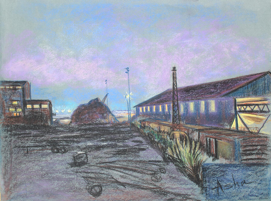 Industrial Landscape Painting Pastel - Nightfall On The Metal Mountain At Schnitzer Steel by Asha Carolyn Young