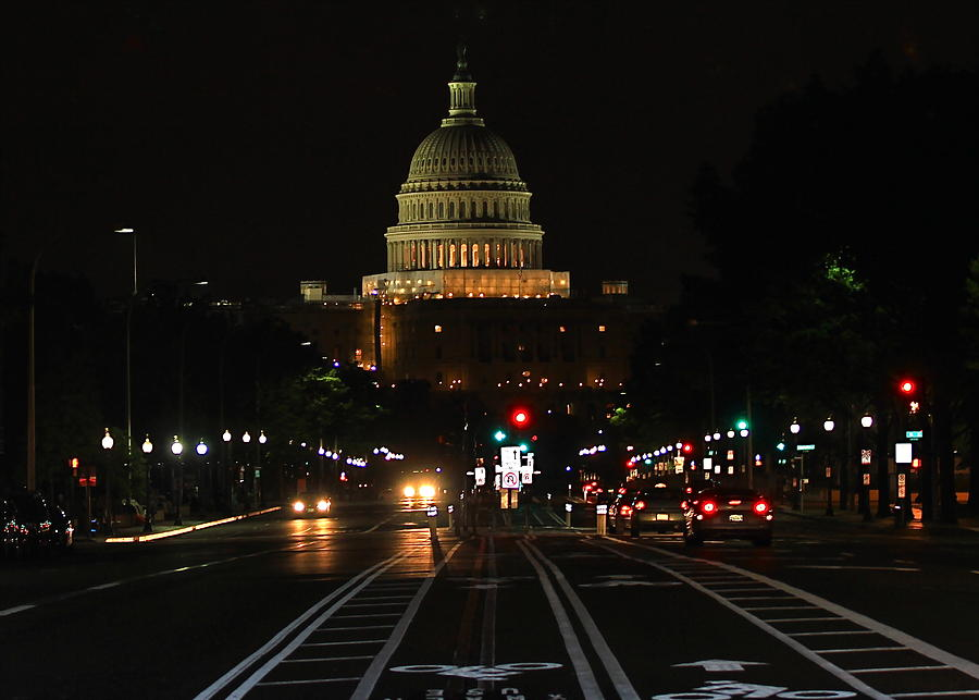 Usa Photograph - Nightime On Capitol Hill by DustyFootPhotography