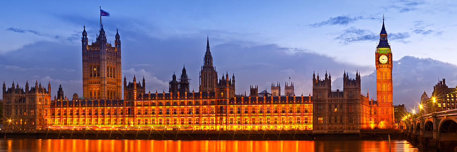 British Photograph - Nightly View London Houses Of Parliament by Melanie Viola