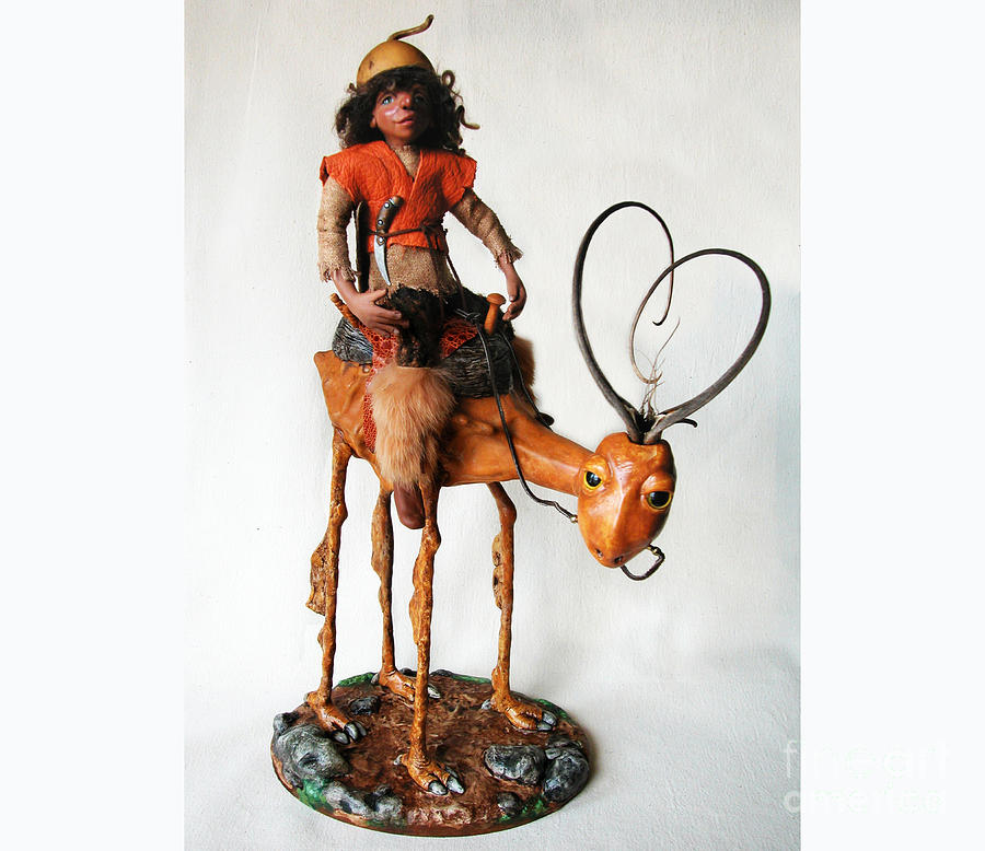 Mixed Media Sculpture - Nightrider - Mythical Creatures by Linda Apple
