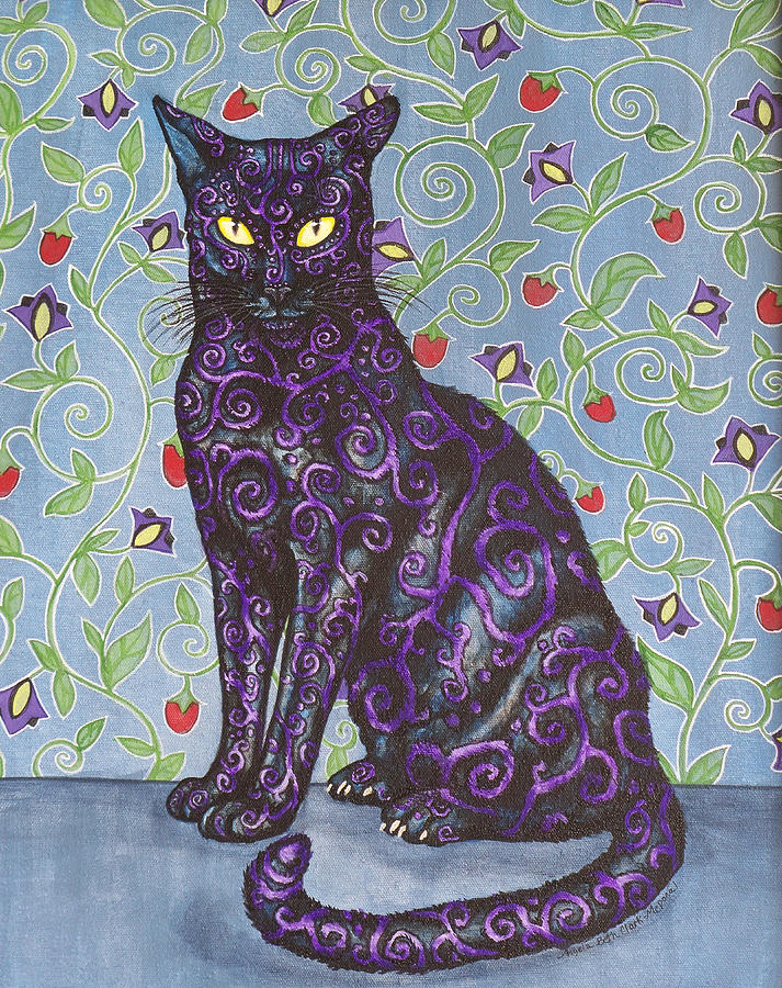 Cats Painting - Nightshade by Beth Clark-McDonal