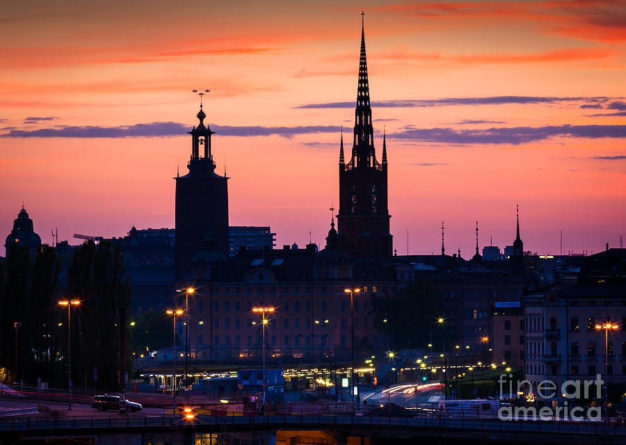 Europa Photograph - Nightsky Over Stockholm by Inge Johnsson