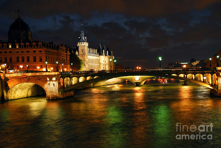 Architecture Photograph - Nighttime Paris by Elena Elisseeva