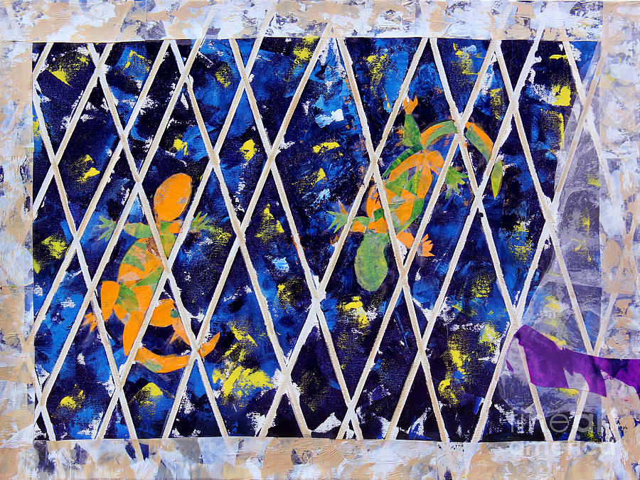 Collage Mixed Media - Nighttime View From The Kitchen Window by Paula Drysdale Frazell