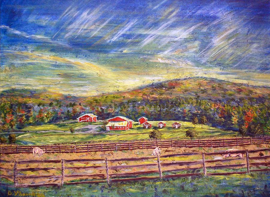 Farm Painting - Nikki And Her Babies Farm Sanctuary Portrait by Denny Morreale