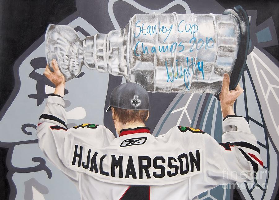 Hockey Drawing - Niklas Hjalmarsson by Brian Schuster