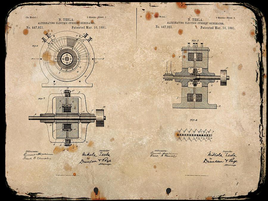 nikola tesla alternating current. wright digital art - nikola teslas alternating current generator patent 1891 by paulette b tesla