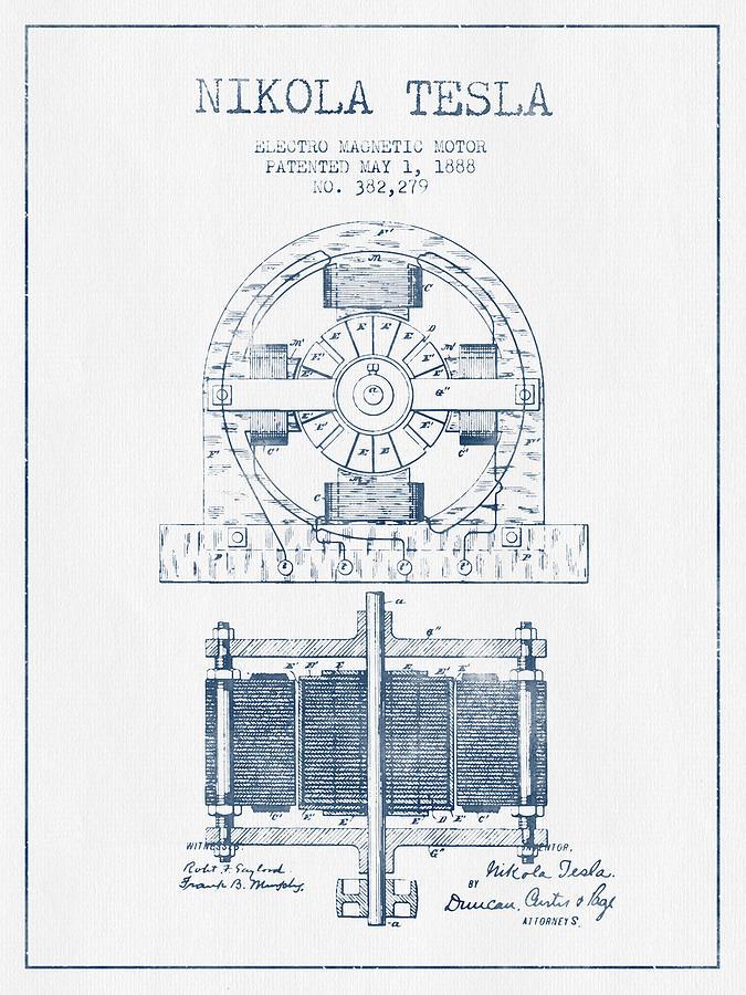 Nikola Tesla Electro Magnetic Motor Patent Drawing From