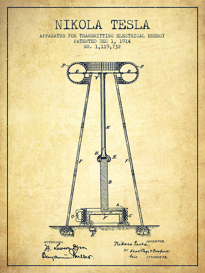 Nikola Tesla Energy Apparatus Patent Drawing From 1914