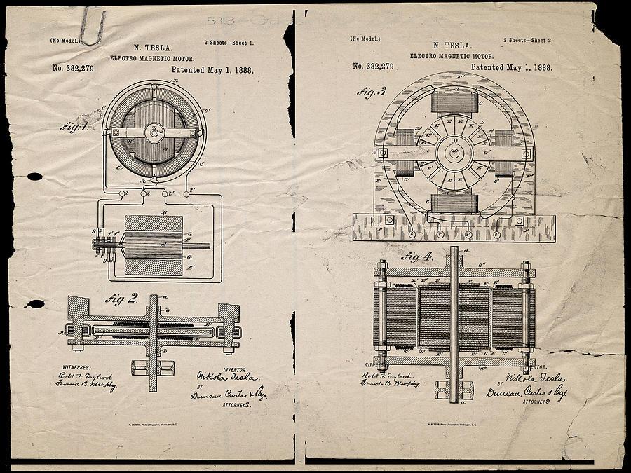 Nikola Tesla S Magnetic Motor Patent 1888 Digital Art By