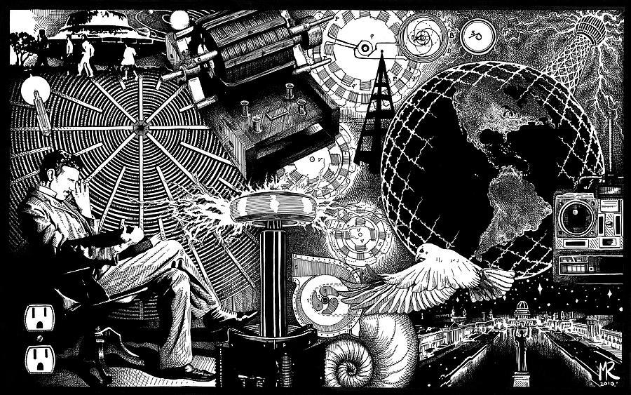 Nikola Tesla Drawing - Tesla by Matthew Ridgway
