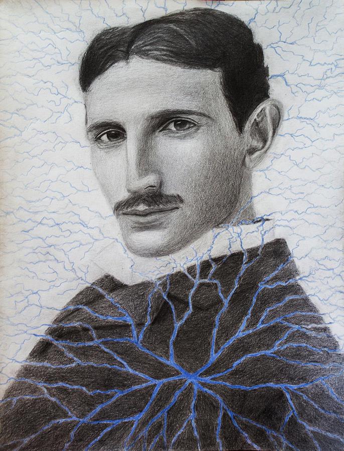 Tesla Mixed Media - Nikola Tesla by Maxwell Hanson
