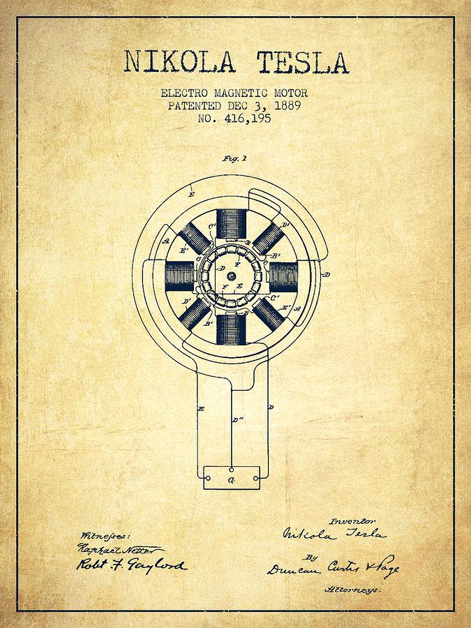 Tesla Digital Art - Nikola Tesla Patent Drawing From 1889 - Vintage by Aged Pixel