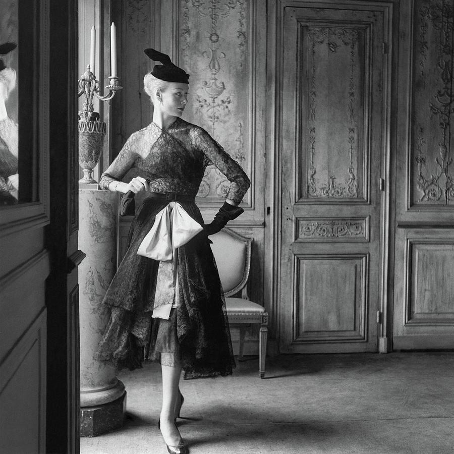 Nina De Voogd Wearing A Dress And Hat Photograph by Henry Clarke